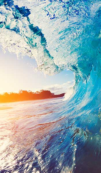 Ocean wave on the sunset